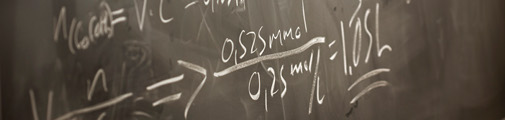 Equations on black board